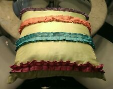 Kids decorative pillow  - Square lime green pillow with colorful Ruffles.