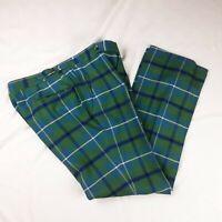 VTG 60/70s Wool Green Plaid Pants Trousers Measure W35.5 L31.5 High Quality