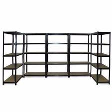 5x 1.2M Black Steel Warehouse Racking Storage Rack Shelf Garage Shelving Shelves