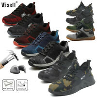 Men's Safety Shoes Steel Toe Work Boots Breathable Hiking Climbing Fashion