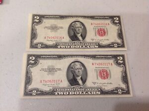 1953B 2- Two Dollar US Notes Red Seal Consecutive serial numbers Crisp! B11b