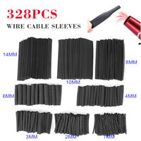 328pcs Black 2:1 Heat Shrink Tubing Tubes Wire Cable Sleeve Assortment
