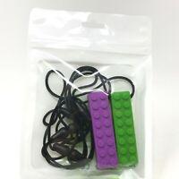 Silicone Chewing Brick Sensory Chew Necklace Kids Autism Biting Purple Green 2X