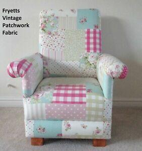 Fryetts Vintage Patchwork Pink Fabric Child's Chair Kids Girls Armchair Gingham