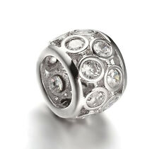 Silver CZ Beads, Rondelle Spacer Beads, CZ Pave Charms For European Bracelets