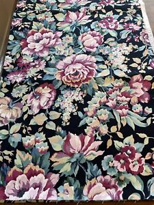Vintage Heavy Cotton Upholstery Fabric Black Floral Cabbage Rose Chintz - 4 Yds