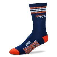 Denver Broncos For Bare Feet Men's NFL 4-Stripe Deuce Crew Socks SZ M