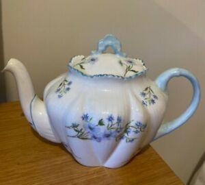 Shelley Blue Rock Teapot Blue Flowers Rare Vintage Fine Bone China England
