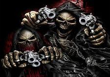 "5.75"" DUAL Grim reaper assassin vinyl sticker decal motorcycle guitar helmet t"