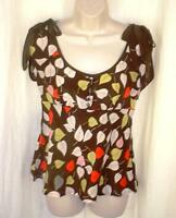 Odille Anthropologie Empire Babydoll Blouse Top 2 Sillk Ties at Shoulder Print