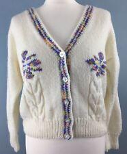 Hand knitted cream cardigan 14/16 Purple daisies