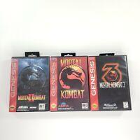 Sega Genesis Mortal Kombat 1 2 3 Trilogy Game Lot of 3 with original case