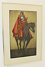 Mid Century Vintage Framed Signed Etching Print Dean Meeker Cardinal at Beauvais