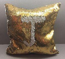 Gold / White  Sequin Pillow Cover Mermaid Magic Glitter Reversible 16'' #17