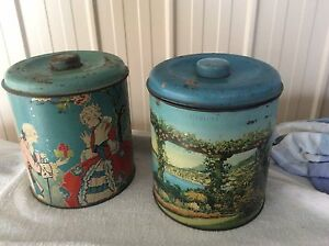 2 vintage and decorative biscuit/ confectionary tins