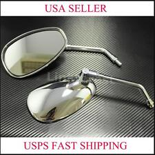 CHROME 10MM REARVIEW SIDE MIRRORS FOR KAWASAKI SUZUKI MOTORCYCLE CRUISER SCOOTER