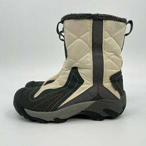 Keen Dry Warm 200 Gram Insulated Side Zip Boots Off White Gray Womens Size 9.5