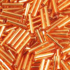 Perles de Rocailles Tubes en verre Trou argenté 9x2mm Orange 20g