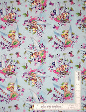 Disney Tinkerbell Fairy Watercolor Flower Aqua Cotton Fabric CP55425 1.3 Yards