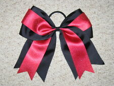 "NEW ""BLACK & RED GLITTER"" Cheer Bow Pony Tail 3 Inch Ribbon Girls Cheerleading"