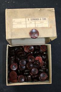 """24 PCS VINTAGE 1930'S BROWN THICK PLASTIC BUTTONS  7/8"""" $1.00 A PIECE"""