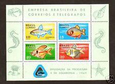 Brazil Sc 1130 MNH. 1969 Fish Souvenir Sheet, VF