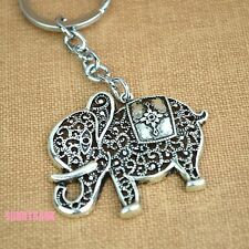 Antique Religious Filigree Elephant Design Protection Lucky Charm Gift Keyring
