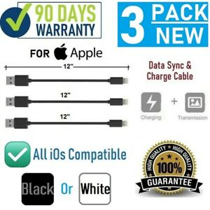 """3-pack 12"""" 1FT Short USB cable for iPhone SE,6,7,8,X,XR,XS,11,11Pro,11 Pro Max"""