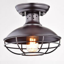 Industrial Vintage Metal Cage Pendant Lighting Semi Flush Mount Ceiling Light