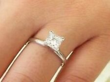 Natural Earth Mined Eye Clean Princess Square Diamond Solitaire Gold Ring H/SI