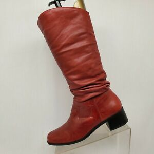 Matisse Red Leather Slouch Knee High Fashion Boots Size 7 M