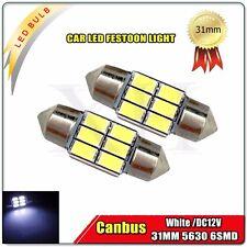 2x White 31MM 5630 6 LED Festoon Light Dome Canbus Lamp Map Interior Bulb 30922