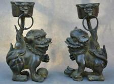 Chinese Bronze Dynasty Lion Foo dog Beast Statue Candlestick Holder Candle Pair