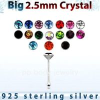 2pcs. 22g - 2.5mm Flat CZ .925 Sterling Silver Nose Bone Nose Ring Stud