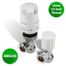 "White Thermostatic Control Angled Designer Radiator Valves Pair 15mm ½"""