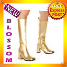 S19 Ladies GoGo Gold Knee High Adult Womens Hippy Go 60'S 70'S Disco Shoes Boots