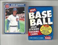 1985 Fleer Ryne Sandberg #65 Baseball Card + 1 Unopened 85 Fleer Wax Pack!