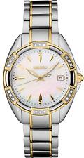 Seiko Women's Diamond Accent White Dial Steel Bracelet Watch SKK880