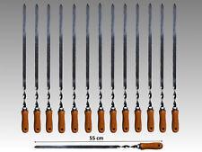 14 x Grillspieße Edelstahl mit Holzgriff 55 cm Schaschlikspieße Fleischspieße