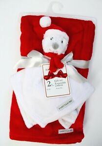 Blankets & Beyond 2-Pc Santa Bear Security Blanket & Baby Blanket Set Red White