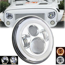 7'' Round LED Halo Angel Eyes Headlight Projector DRL For Jeep Wrangler Harley
