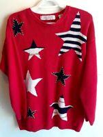 Karen Scott Womens Size Large Pullover Sweater Christmas Star Holiday