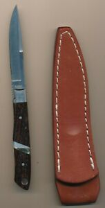 Moki Cocobolo Pearl Inlay Handle Bird & Trout Knife with Sheath Made in Japan