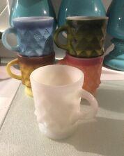 Vintage Fire King Lot of 5 Kimberly Diamond Pattern Milk Glass Mugs