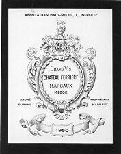 SAINT JULIEN 3E GCC VIEILLE ETIQUETTE CHATEAU FERRIERE 1950 RARE §09/08§