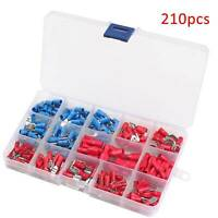 210x INSULATED ELECTRICAL WIRE TERMINALS CRIMP ASSORTED KIT CONNECTORS SPADE SET