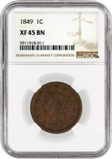 1849 1C Braided Hair Large Cent NGC XF45 BN Extremely Fine Circulated Coin