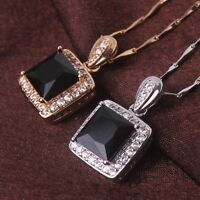 Princess Pendant chain stunning woman 18k gold filled black sapphire necklace