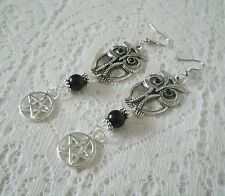 Goddess Athena Owl Pentacle Earrings, wiccan pagan witch witchcraft pentagram