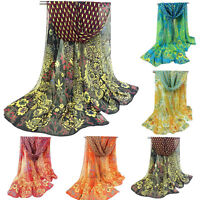 Hot Women Peacock Chiffon Scarf Long Soft Shawl Silk Wrap Neck Warm Stole New